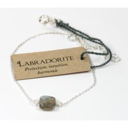 Bracelet en argent, coussin de Labradorite 7 mm
