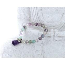 Bracelet Yoga Rainbow Fluorite Pompon et Lotus
