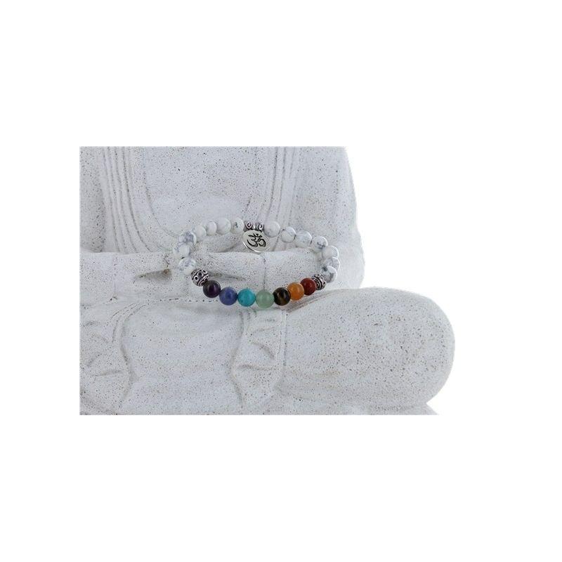 Bracelet 7 Chakras et Howlite Blanche Naturelle avec Charms Om